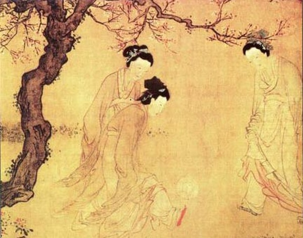 Mujeres chinas jugando Cuju. Obra del pintor Du Jin durante la Dinastía Ming (1368–1644). Wikimedia Commons.