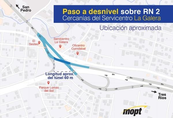 Este mapa del MOPT precisa cómo sería el futuro túnel o paso a desnivel en la zona de La Galera / MOPT para LN