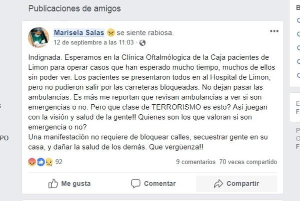 En su página de Facebook, la directora de la Clínica Oftalmológica externó su indignación por lo que están padeciendo enfermos de la vista debido a la huelga. Foto: tomada de FB