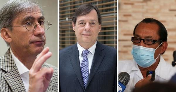 Álvaro Jenkins (centro), presidente de Uccaep, pidió reunirse con Jorge Vargas Cullel (izquierda) el miércoles en la mañana, pero no se conectó a la reunión. En vez de eso, manejó hasta San Carlos para reunirse con Célimo Guido