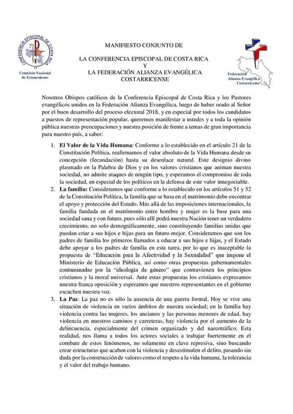 Este es el documento que emitieron en conjunto la Iglesia católica y la Alianza Evangélica tras la jornada de oración del 18 de enero, y que fue denunciado ante el TSE.