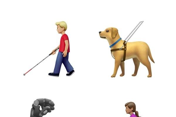 Los nuevos emojis procuran ser más inclusivos, por eso ofrecen prótesis, personas en silla de ruedas y perro guía, entre otros. Foto: Apple.