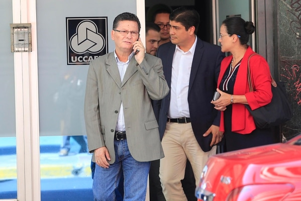 El pasado 7 de febrero, Marvin Rodríguez (izquierda) acompañó al candidato presidencial Carlos Alvarado a una reunión con miembros de la Unión Costarricense de Cámaras y Asociaciones del Sector Empresarial Privado. Foto: Rafael Pacheco