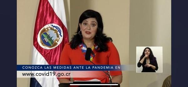 Pilar Garrido . ministra de Planificación, durante la conferencia de prensa sobre el covid-19 en Casa Presidencial, el pasado 2 de julio. Foto: Captura de pantalla conferencia de prensa del MS