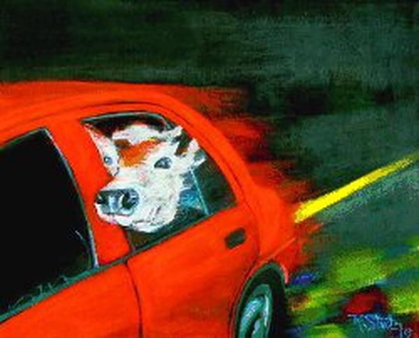 Taxi pirata es una de las pinturas recientes de Rodolfo Stanley.