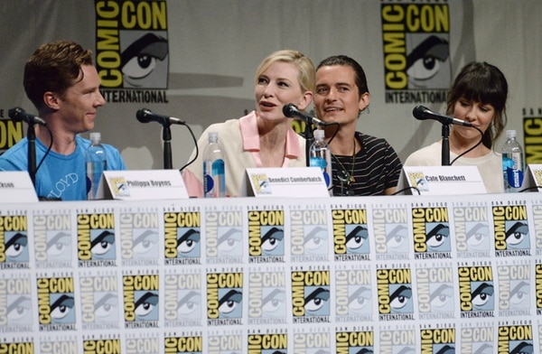 Benedict Cumberbatch, Cate Blanchett, Orlando Bloom y Evangeline Lilly en el panel de 'Hobbit: The Battle of Five Armies'. / Fotografía: AP.