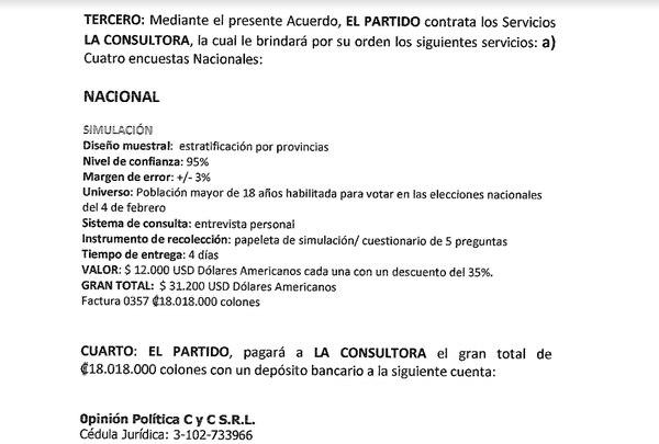 Parte del contrato entre Opol y Restauración.