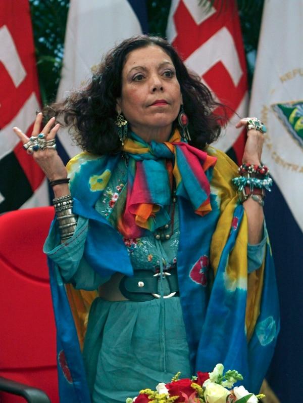 Rosario Murillo, encargada de Comunicación del gobierno de su esposo, Daniel Ortega, fue la encargada de enviar el comunicado oficial de Nicaragua ante la sentencia de la Corte Internacional de Justicia. | AP