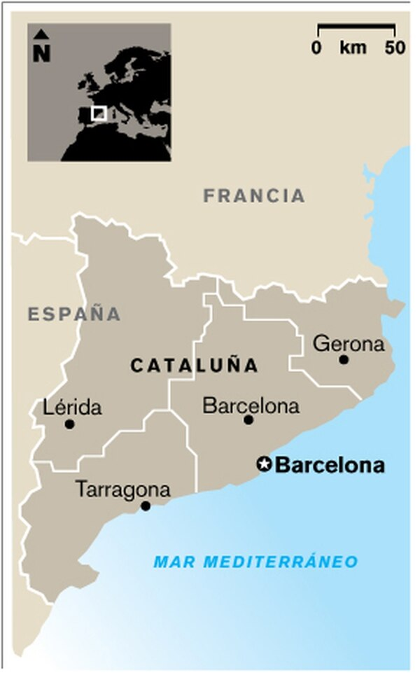 Mapa de ubicación de Cataluña, España.