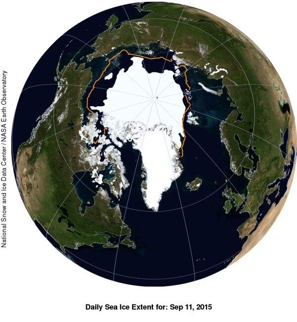 La línea naranja marca la extensión del hielo en 1981. | NSIDC