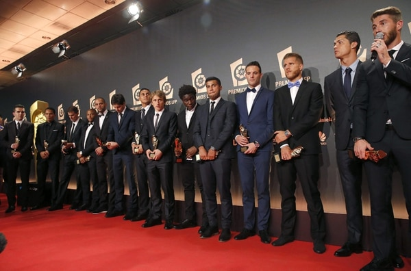 Galardonados en la gala de los Premios LFP, celebrada ayer en el auditorio Príncipe Felipe, en Madrid. | EFE