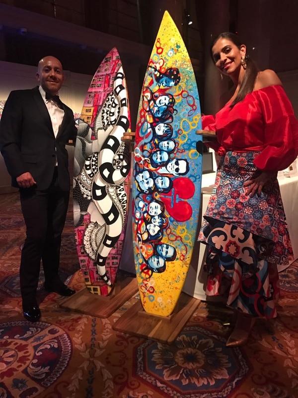 Julio César Valverde y Mónica Lizano fueron los artistas ticos que asistieron y colaboraron en la cena de gala ofrecida por Marc Anthony y su fundación Maestro Cares.