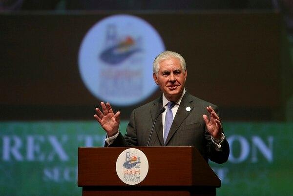 El secretario de Estado norteamericano, Rex Tillerson, pronunció un discurso, el domingo ante el Congreso Mundial de Petróleo en Estambul.