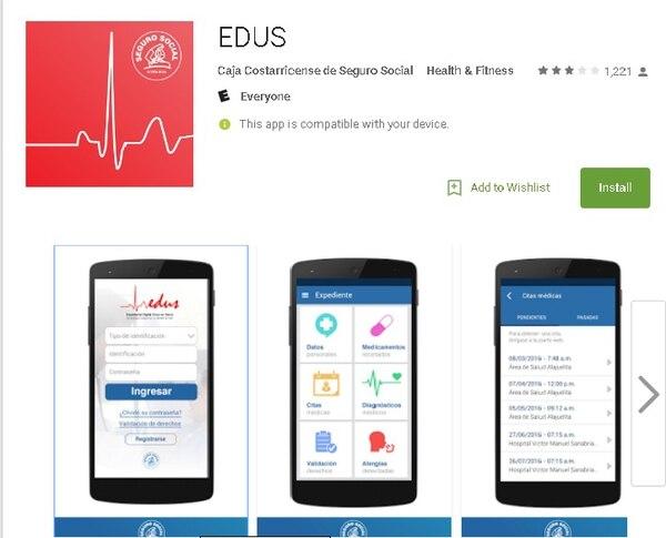Esta es la aplicación app Edus, que reune el expediente digital de cada asegurado en la Caja Costarricense de Seguro Social.