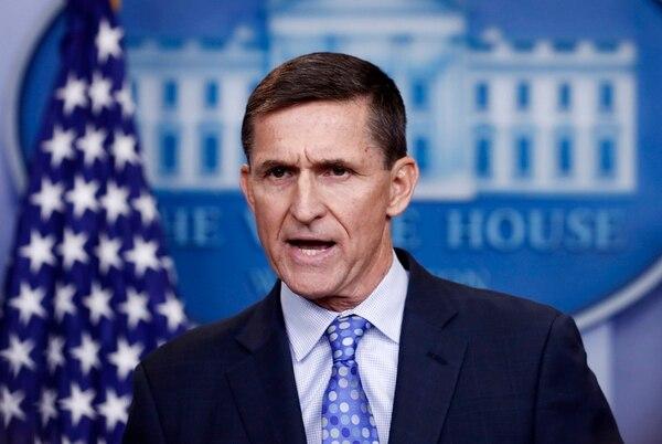 En esta foto del 1 de febrero del 2017, el entonces consejero de Seguridad Nacional Michael Flynn participa en una conferencia de prensa en la Casa Blanca.