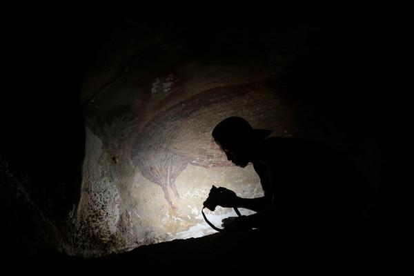 Un arqueólogo labora dentro de la carverna de Leang Tedongnge en Sulawesi, Indonesia. FOTO AFP