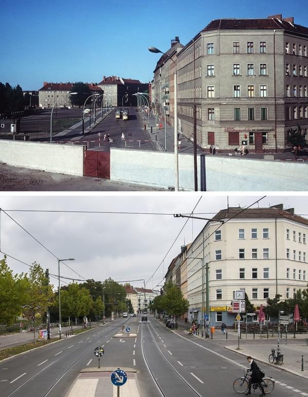 El Muro visto desde la Bernauer Strasse, en Berlín Occidental, en junio de 1968 (arriba). La misma vista, en setiembre del 2014. | AFP