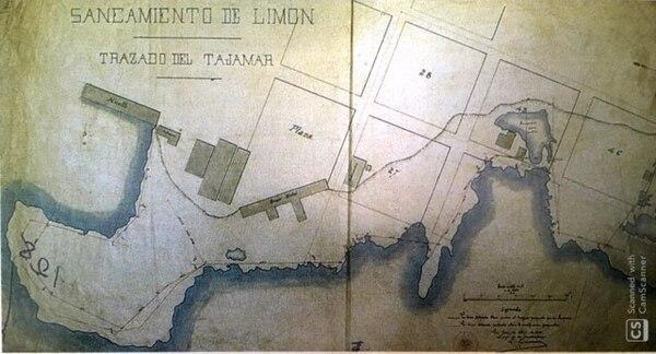 Tajamar en Limón. Mapa publicado en el libro de historia de la arquitectura de Elizabeth Fonseca y otros.