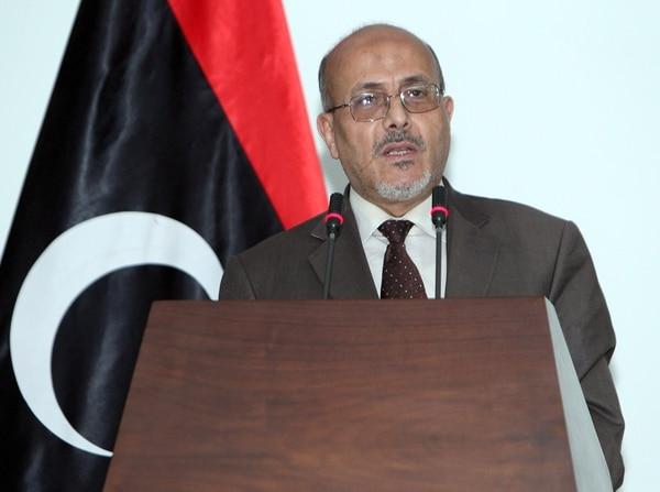 El portavoz del Parlamento libio, Ahmad Lamen ofreció este domingo una conferencia de prensa en la capital, Trípoli, Libia.