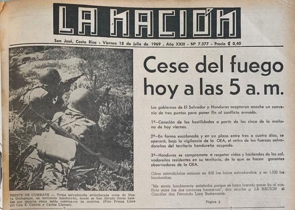Las hostilidades cesaron el 18 de julio de 1969 tras la intervención de la OEA.