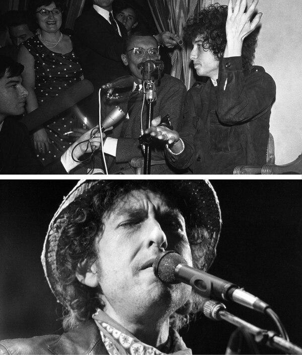 Arriba: Bob Dylan durante una conferencia de prensa en 1966, en París. Abajo: Concierto del estadounidense en 1984, en Alemania.