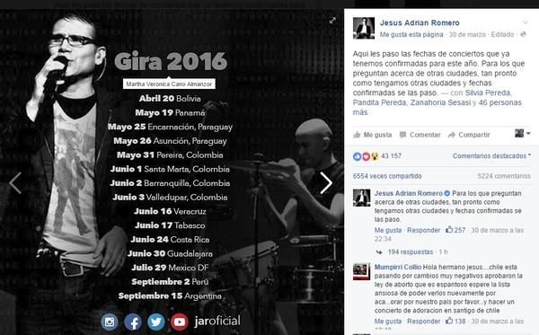 El cantante confirmó la noticia en su perfil oficial.