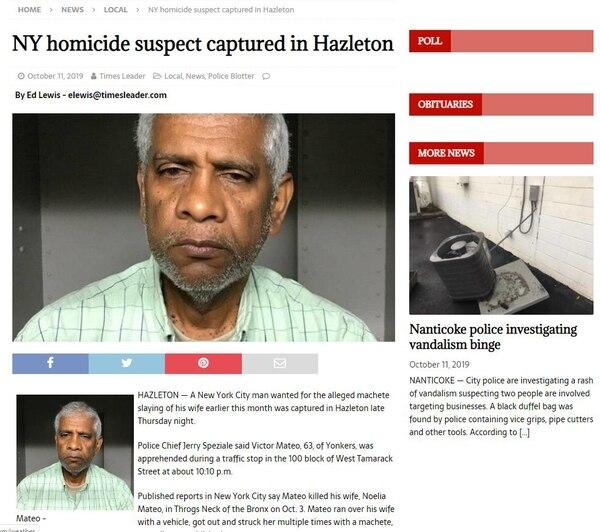 El arresto lo hicieron la noche del jueves en la calle Tamarack, en Hazleton, Estado de Pensilvania, según reportó el diario Times Lider en su página digital. Foto tomada de Times Lider