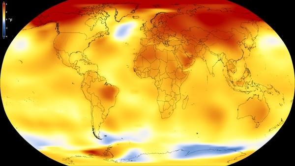 Las zonas en amarillo y en rojo representan las zonas que tienen una temperatura promedio mayor al considerado como base de referencia (compuesto por las temperaturas promedios entre 1951 y 1980). Imagen del Estudio de Visualización Científica de la NASA.
