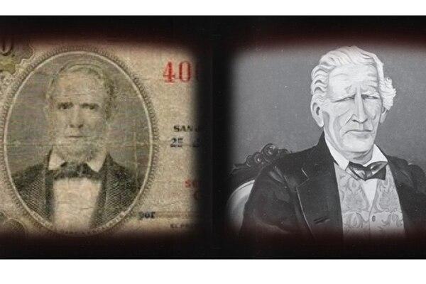 El busto de García Escalante (izquierda), el primer ministro de la Caja Nacional, se imprimió en una emisión de billetes de 50 colones del Banco Nacional, a mediados del siglo XX. Montealegre, factor de tabacos en 1821, es considerado el primer diplomático del país. Imagen: Captura de obra del autor Jorge Francisco Sáenz Carbonell, publicada por la Cancillería.