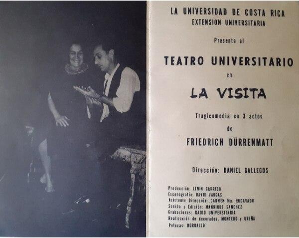 Programa de mano de 'La visita'. En la imagen aparecen Ana Poltronieri y Guido Sáenz González, protagonistas del aplaudido montaje. Archivo personal de la autora