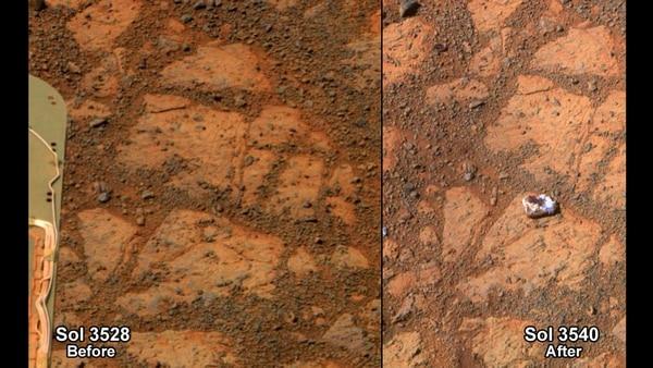 """La curiosa roca ha sido apodada """" Pinnacle Island """" por los científicos y """" donut de mermelada """" popularmente dado su parecido con este dulce: tiene unos cuatro centímetros de diámetro, es de color blanco y su centro es rojo."""