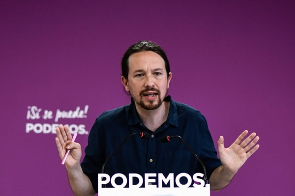 Pablo Iglesias, líder de Podemos, expuso sus criterios sobre la derrota del partido, en una conferencia de prensa, este lunes 27 de mayo del 2019.