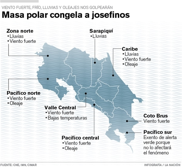 Al menos 5 grados centígrados bajarán las temperaturas en el Valle Central debido al nuevo frente frío que azotará al país este fin de semana.