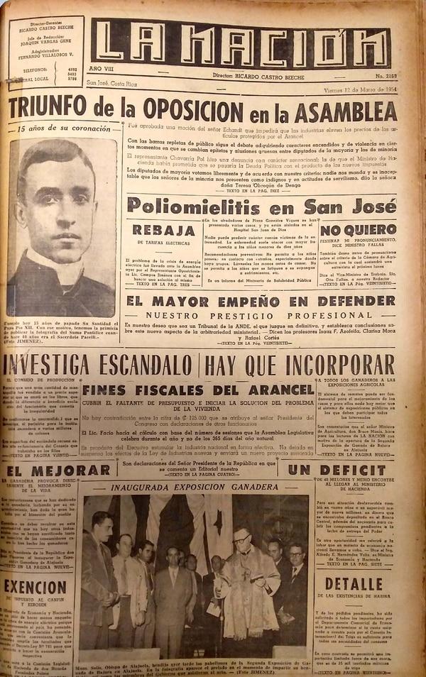 En su portada del viernes 12 de marzo de 1954, La Nación informó acerca de un brote de polio en los alrededores de la Plaza González Víquez en San José. Archivo LN.