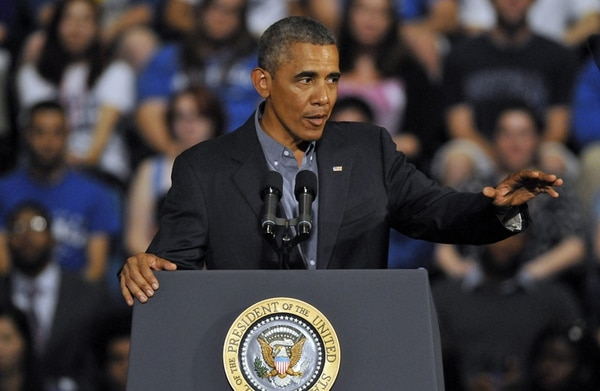 Obama, ayer, en la Universidad de Buffalo, en Nueva York. | EFE