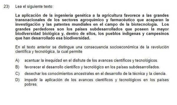 La propiedad intelectual en avances genéticos son parte de las preguntas de los exámenes de bachillerato.