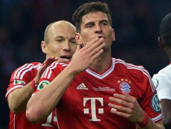 Mario Gómez tuvo poca participación la temporada pasada co el Bayern Múnich.   AFP.