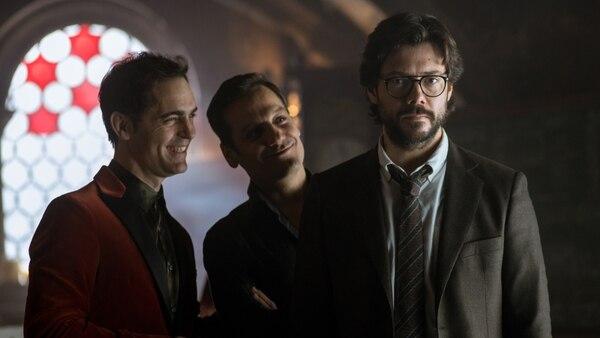 Berlín, Palermo y El Profesor protagonizarán momentos realmente intensos en los nuevos episodios de 'La Casa de Papel'. Fotografía: Netflix para La Nación