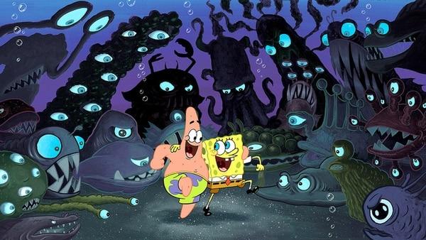 En 'Bob Esponja: La película', nuestro amigo amarillo y Patricio abren camino hacia su mayor aventura: recuperar la corona del Rey Neptuno. Foto: Nickelodeon