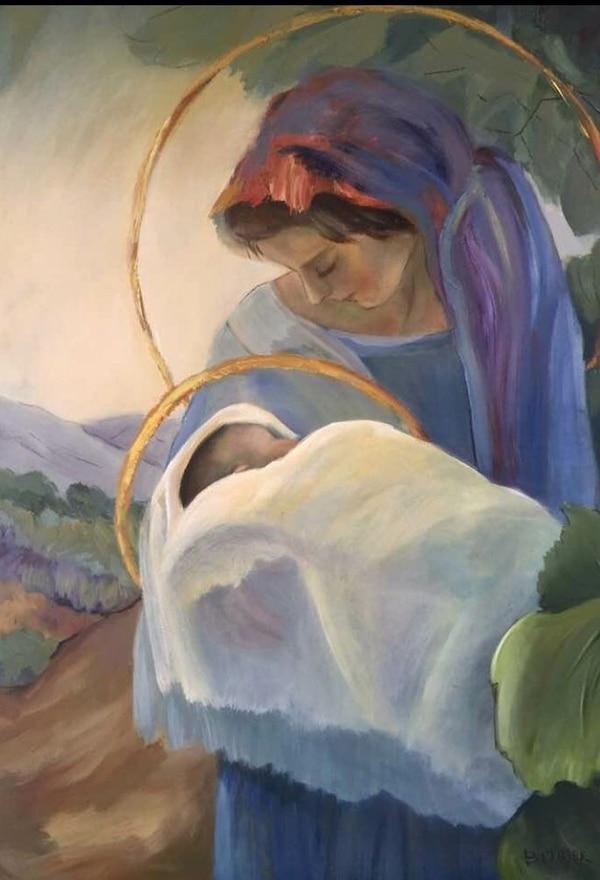 'En un jardín, María y el niño', óleo de Barbara Miller.