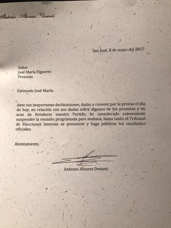Esta es la carta que envió, este lunes, Antonio Álvarez a José María Figueres.