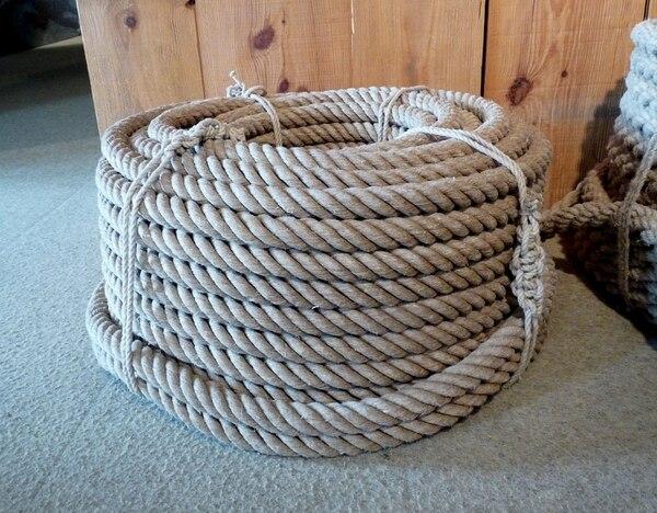 Una cuerda hecha con fibra de cáñamo.