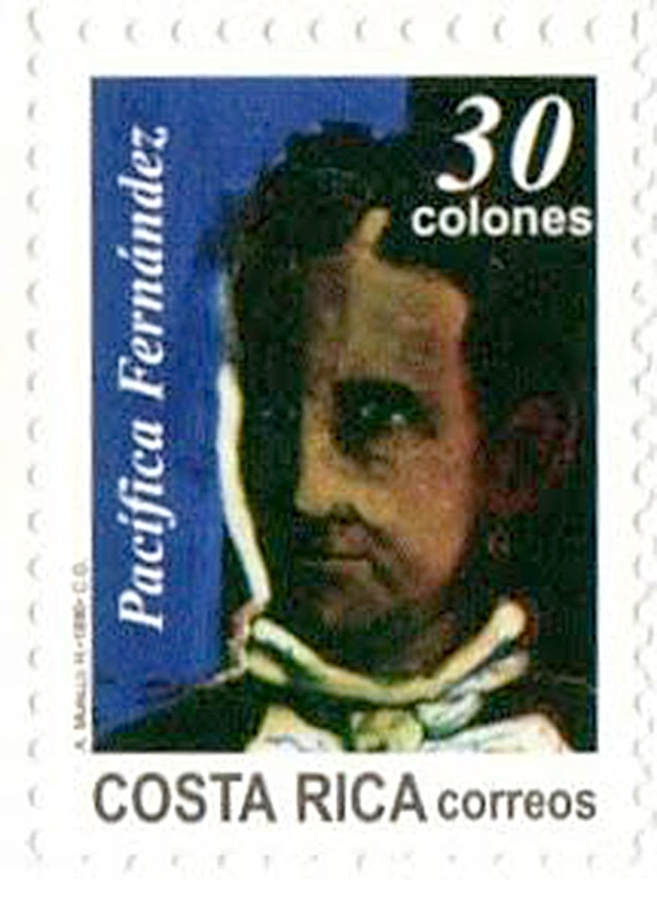 En 1996, Pacífica Fernández es parte de un sello conmemorativo de la Independencia de Costa Rica. Foto: César Sancho.