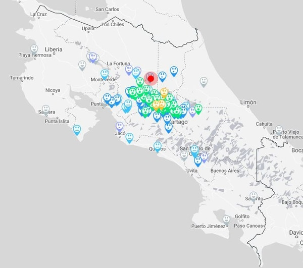 A las 4 p. m. los reportes de personas que sintieron el temblor se concentraban en el Valle Central, aunque también hubo informes de zonas más alejadas. Mapa: RSN.
