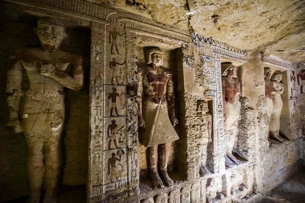 TOPSHOT - This picture taken on December 15, 2018 shows a view of a newly-discovered tomb belonging to the high priest