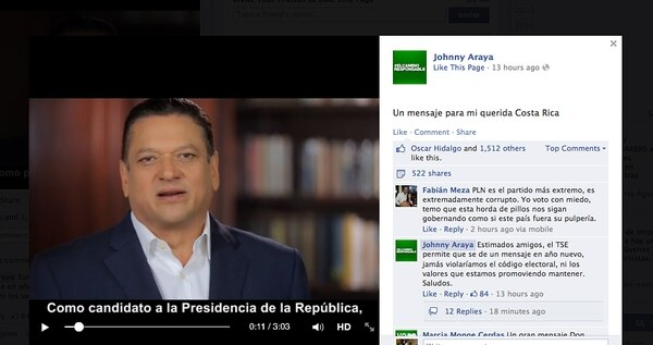El 1.° de enero por la noche el candidato del PLN, Johnny Araya transmitió un corto televisivo que generó polémica en redes sociales. La imagen se tomó del perfil del aspirante verdiblanco.