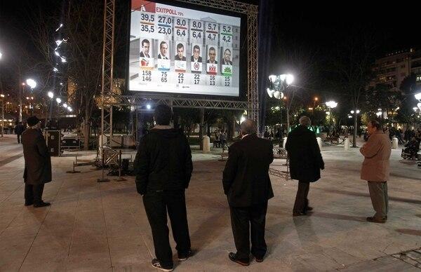 Seguidores del partido Nueva Democracia seguían el domingo en Atenas los resultados de las encuestas a salida de urna que mostraban la ventaja de Syriza.