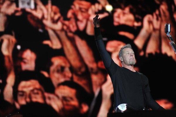 James Hetfield, cantante de Metallica, durante su presentación en Costa Rica, en el 2010.