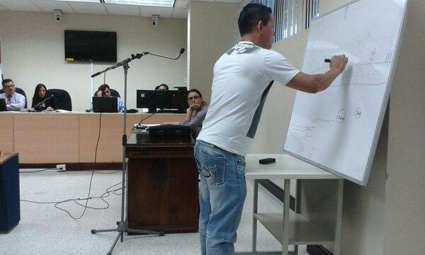 A pedido de un defensor, el policía Guido Alberto Mena dibujó los lugares donde –según su versión– estaban los manifestantes, así como el sitio en el que dice haber visto las bombas caseras.   RODOLFO MARTÍN