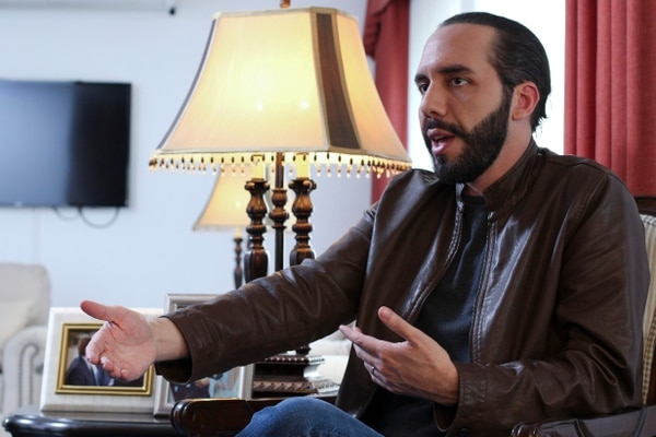Salvadoran President-elect Nayib Bukele, speaks during an interview with The Associated Press in San Salvador, El Salvador, Tuesday, Feb. 12, 2019. Bukele, a youthful former mayor of the capital, easily won El Salvador's presidency, getting more votes than his three rivals combined to usher out the two parties that dominated politics for a quarter century in the crime-plagued Central America nation. (AP Photo/Salvador Melendez)